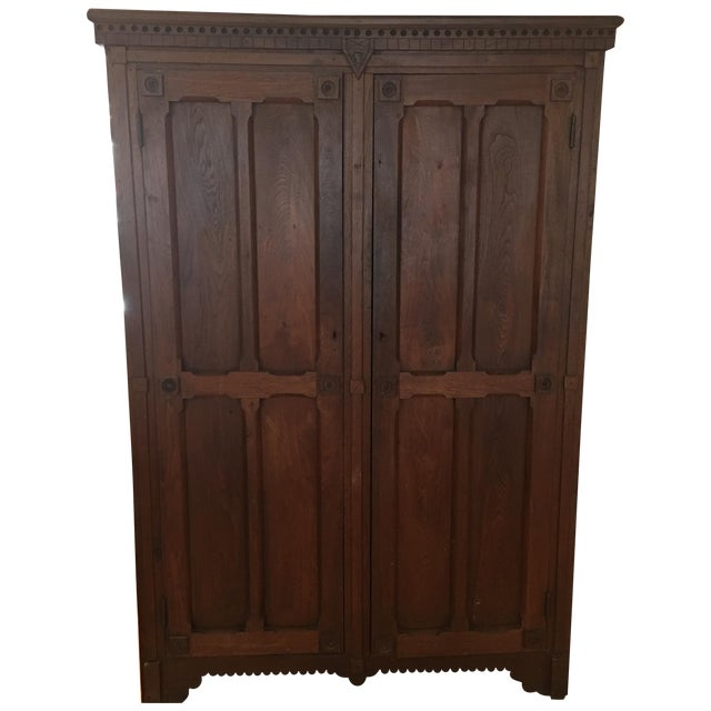 Antique 1800s Walnut Wardrobe Armoire - Image 1 of 7