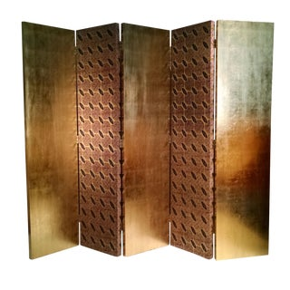 Gold Leaf Floor Screen - 5 Panels