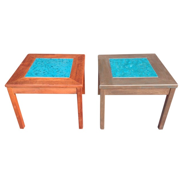 Mid-Century Brown Saltman Side Tables - A Pair - Image 1 of 7