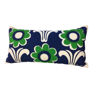 Erin Flett Green & Blue Flower Lumbar Pillow