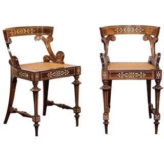 Pair of Barrel Back Wooden Slipper Chairs with Marquetry Décor and Cane Seats