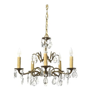 Five Light Spanish Brass and Crystal Chandelier