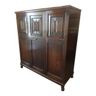 Antique English Solid Oak Linen Press or Armoire