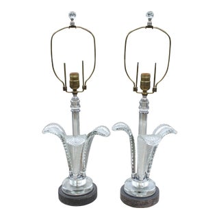 Art Deco Grosfeld House Crystal Plume Lamps - A Pair