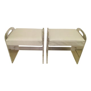 1970s Upholstered Lucite Benches - A Pair