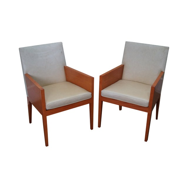 Mid Century Leather Arm Chairs A Pair Chairish