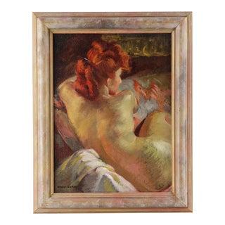"""Portrait of Redhead,"" Mario Cooper Oil on Canvas"