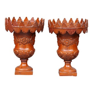 Pair French Terracotta Urns By Ardus