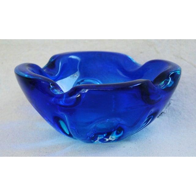 Mid-Century Azure Blue Murano Art Glass Dish - Image 2 of 8
