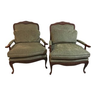 Oversized Louis XV Style Fauteuils or Lounge Chairs by Lexington - A Pair