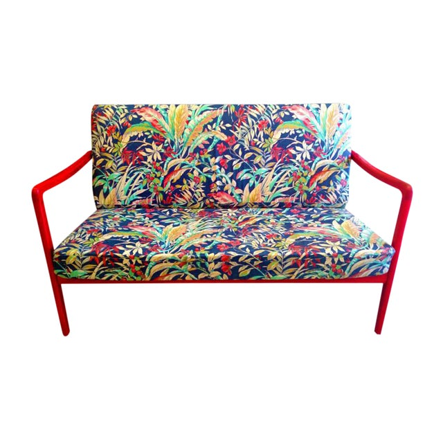 1960's Ole Wanscher Danish Red Painted Teak Settee - Image 1 of 2