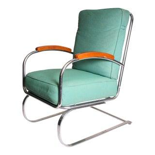 Vintage Art Deco Kem Weber Chrome Cantilever Springer Chair
