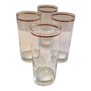 Mid-Century Gold Band Tumbler Glasses - Set of 4