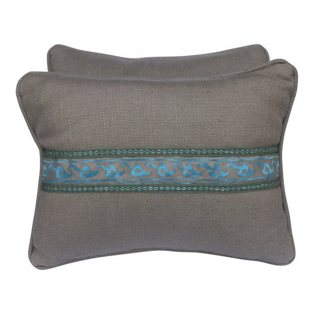 Transitional Fortuny Blue & Metallic Gold Pillows - A Pair - Image 1 of 5