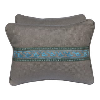 Transitional Fortuny Blue & Metallic Gold Pillows - A Pair