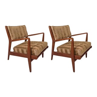 Original Jens Risom Walnut Armchairs With New Striped Chenille Upholstery - a Pair