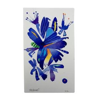 """Steve Klinkel """"Floral Blue Birds 2"""" Original Watercolor Painting"""