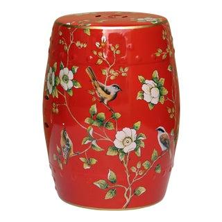 Handmade Bright Red Porcelain Bird Flower Round Stool Ottoman