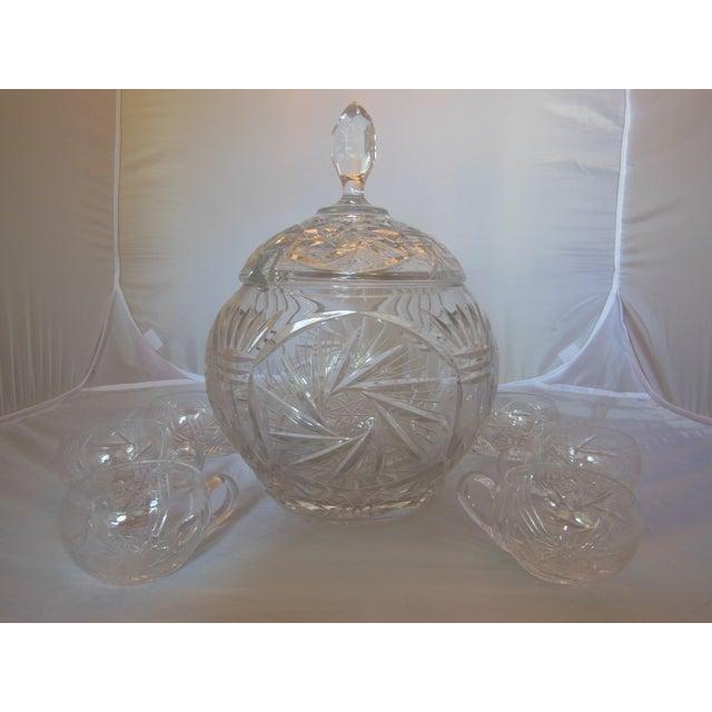 Image of Vintage Crystal Lidded Punch Bowl Set - Set of 7