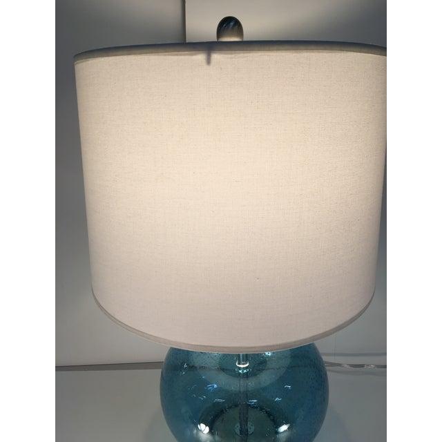 Image of Round Blue Round Glass Lamp