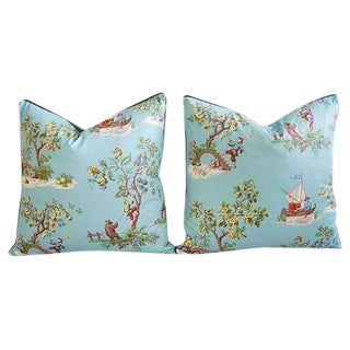 Custom Italian Scalamandre Chinoiserie Feather/Down Pillows - Pair