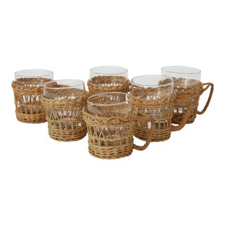 French Rattan Glasses With Rattan Holders - Set of 6