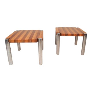 Mid-century Modern Teak End Tables With Chrome Legs - a Pair