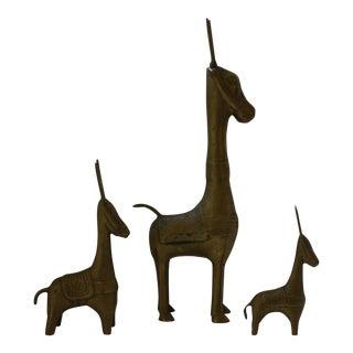 Set of 3 Vintage Brass Donkey / Burros