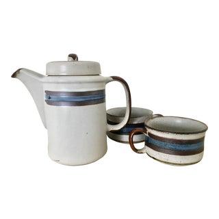 Rustic Pottery Coffee Pot & Mugs - Set of 3