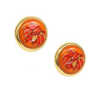 Hermes Clip-On Gold & Orange Earrings