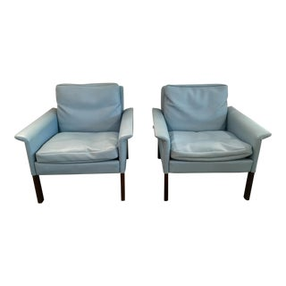 Pair of Mid Century Modern Baby Blue Lounge Chairs by Hans Olsen for CS Mobler