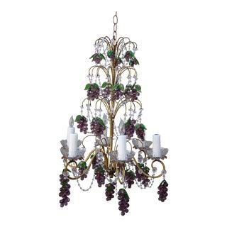 Six Light French Beaded Grape Chandelier
