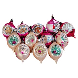 1950s Fancy Christmas Indent Ornaments - Set of 12