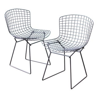 Bertoia Side Chairs in Slate Gray - A Pair