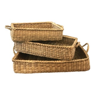 Wicker Basket Trays - Set of 3