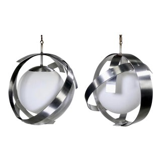 Mid-Century Brushed Aluminum and Glass Pendants - A Pair