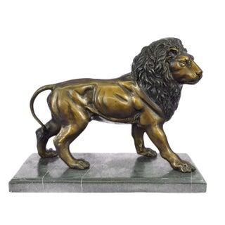 Bronze Lion Sculpture on Marble Base
