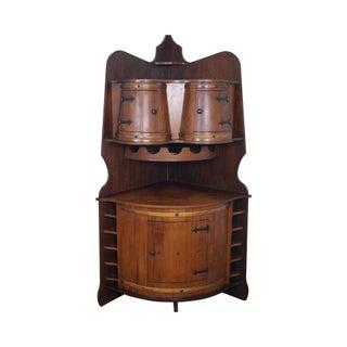 Vintage Oak Barrel Corner Bar Cabinet