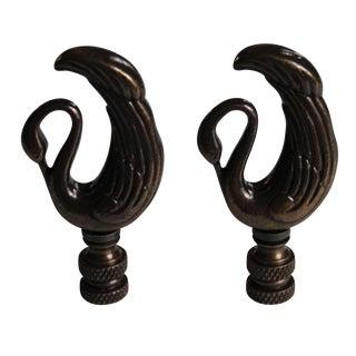 Art Deco-Style Swan Lamp Finials - A Pair