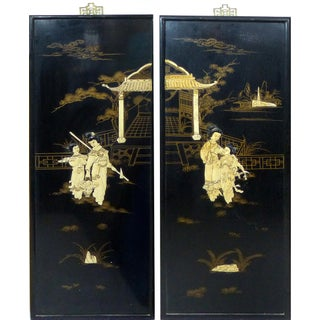 Vintage Japanese Wall Plaques - A Pair