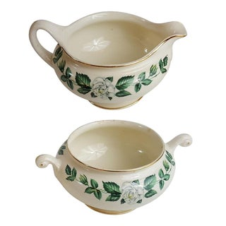 Gardenia Gold Trim Sugar and Creamer - A Pair