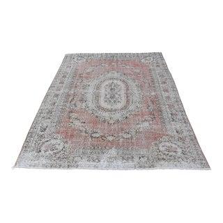 Nomadic Antique Handmade Muted Anatolian Faded Salmon Carpet - 6′9″ × 9′2″