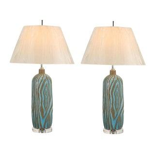 Fabulous Pair of Zebra Print Ceramic Vessels as Custom Lamps
