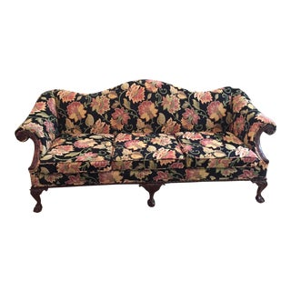 Gorgeous Chippendale-Style Black and Rose Tapestry Camel-Back Couch