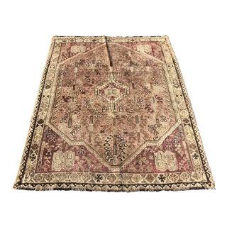 Antique Persian Shiraz Thin Area Rug - 4′4″ × 5′10″