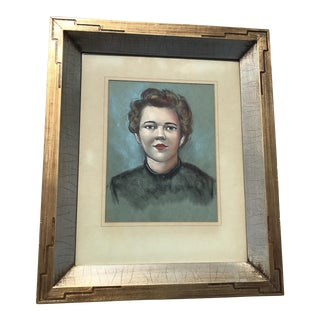 Vintage Female Portrait Chalk Drawing