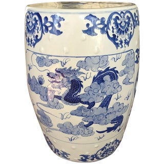 Large Chinoiserie Ceramic Garden Stool
