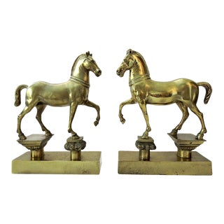 Elegant Vintage Italian Brass Horse Bookends/Sculptures - Pair