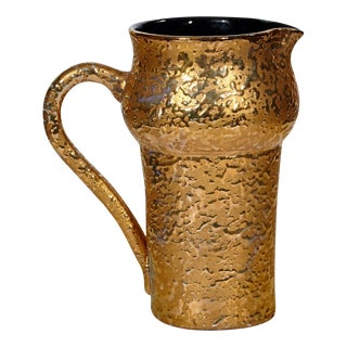 Italian Gilt Textured Handled Pitcher