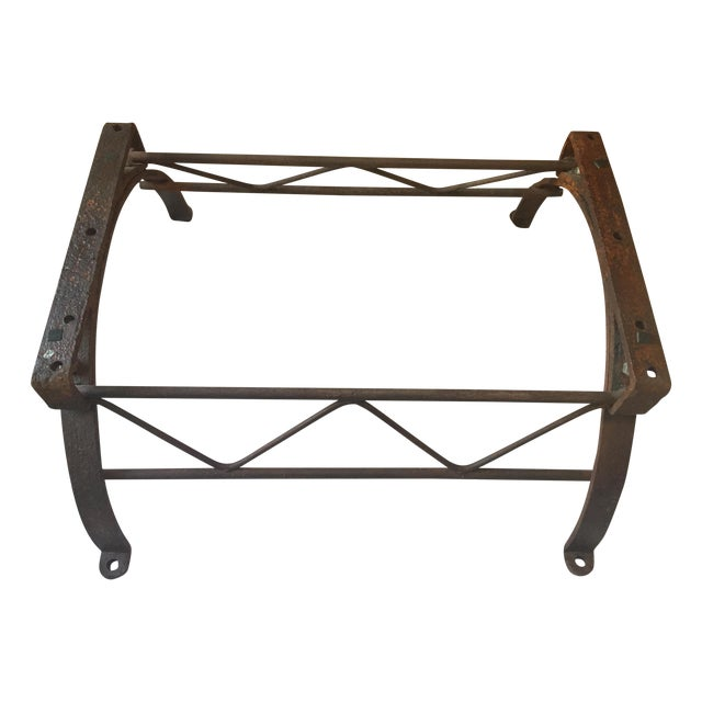 Repurposed Iron Barrel Holder Glass Top Table - Image 5 of 7